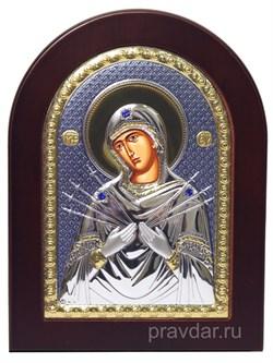 Семистрельная Божья Матерь, икона с серебряным окладом - фото 7148