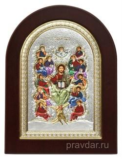 Спас Древо Жизни, икона с серебряным окладом - фото 7164
