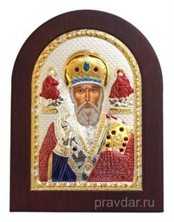 Николай Чудотворец, икона с серебряным окладом - фото 7184