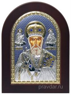 Николай Чудотворец, икона с серебряным окладом - фото 7188