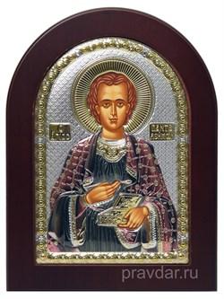 Пантелеймон целитель, икона с серебряным окладом - фото 7196