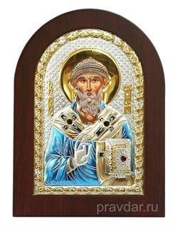 Спиридон Тримифунтский, икона с серебряным окладом - фото 7238