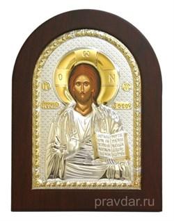 Спас Премудрый, греческая икона с серебряным окладом без эмали - фото 7253