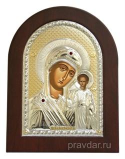 Казанская Божья Матерь, греческая икона с серебряным окладом - фото 7257
