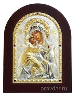 Владимирская Божья Матерь, греческая икона с серебряным окладом - фото 7261