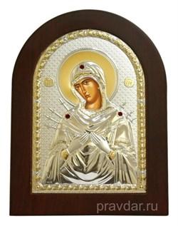 Семистрельная Божья Матерь, икона с серебряным окладом - фото 7265