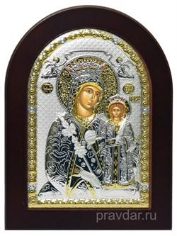 Неувядаемый цвет образ Божией Матери, икона с серебряным окладом - фото 7281