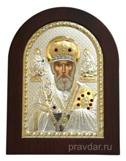 Николай Чудотворец, икона с серебряным окладом - фото 7297