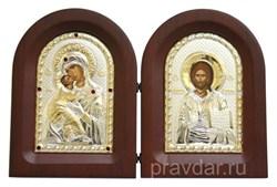Складень Владимирская БМ и Спас Премудрый, икона с серебряным окладом - фото 7315