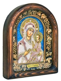 Тихвинская Божья Матерь, дивеевская икона из бисера и натуральных камней - фото 7323