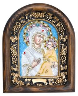 Тихвинская Божья Матерь, дивеевская икона из бисера - фото 7325