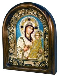 Тихвинская Божья Матерь, дивеевская икона из бисера и натуральных камней - фото 7332