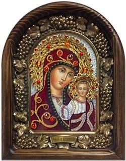 Казанская Божья Матерь, дивеевская икона из бисера ручной работы - фото 7334