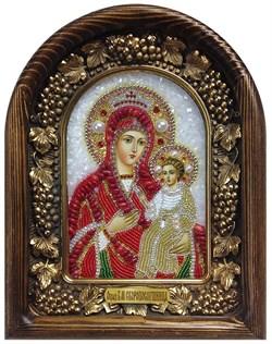 Скоропослушница образ Божией Матери, дивеевская икона из бисера и натуральных камней - фото 7340