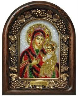 Скоропослушница образ Божией Матери, дивеевская икона из бисера и натуральных камней - фото 7342