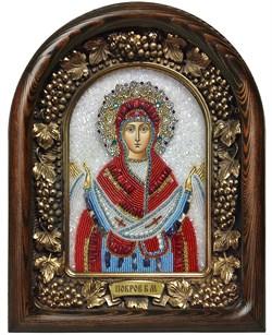 Покров Пресвятой Богородицы, дивеевская икона из бисера и натуральных камней - фото 7344