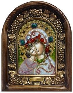 Владимирская Божья Матерь, дивеевская икона из бисера и натуральных камней - фото 7347