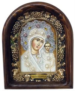 Казанская Божья Матерь, дивеевская икона из бисера и натуральных камней - фото 7359