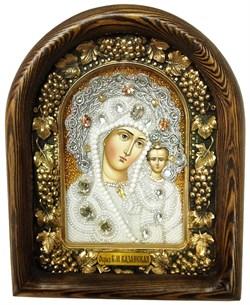 Казанская Божья Матерь, дивеевская икона из бисера ручной работы - фото 7361