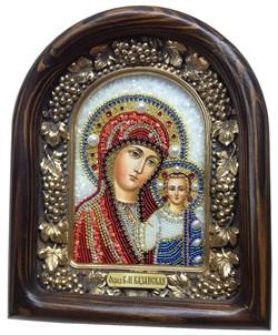 Казанская Божья Матерь, дивеевская икона из бисера ручной работы - фото 7363