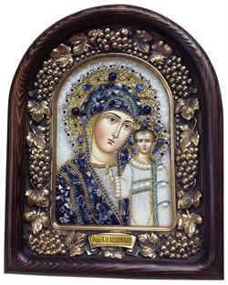Казанская Божья Матерь, дивеевская икона из бисера и натуральных камней - фото 7365