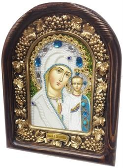 Казанская Божья Матерь, дивеевская икона из бисера ручной работы - фото 7376