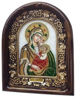 Утоли моя печали, икона Божьей матери из бисера ручной работы - фото 7379
