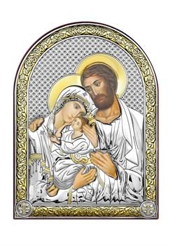 Святое Семейство, серебряная икона с позолотой - фото 7387