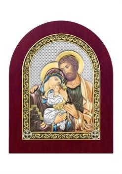 Святое Семейство, серебряная икона деревянный оклад цветная эмаль - фото 7391