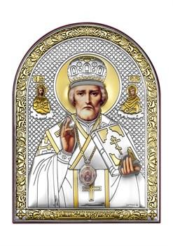 Николай Чудотворец, серебряная икона с позолотой - фото 7419