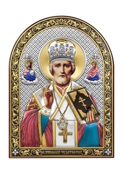 Николай Чудотворец, серебряная икона с позолотой и цветной эмалью - фото 7422