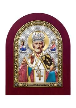 Николай Чудотворец, серебряная икона деревянный оклад цветная эмаль - фото 7428