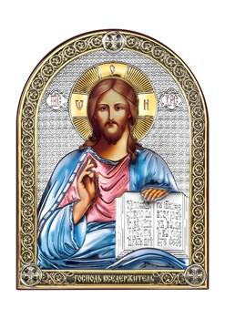 Господь Вседержитель, серебряная икона с позолотой и цветной эмалью - фото 7436