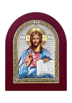 Господь Вседержитель, серебряная икона деревянный оклад цветная эмаль - фото 7442