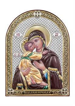 Владимирская Божия Матерь, серебряная икона с позолотой и цветной эмалью - фото 7450