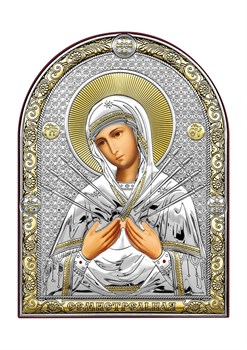 Семистрельная Божия Матерь, серебряная икона с позолотой - фото 7461