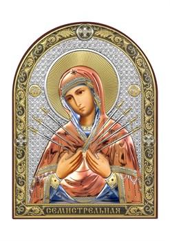 Семистрельная Божия Матерь, серебряная икона с позолотой и цветной эмалью - фото 7464