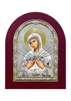 Семистрельная Божия Матерь, серебряная икона деревянный оклад - фото 7467