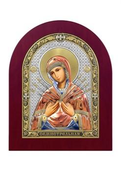 Семистрельная Божия Матерь, серебряная икона деревянный оклад цветная эмаль - фото 7470