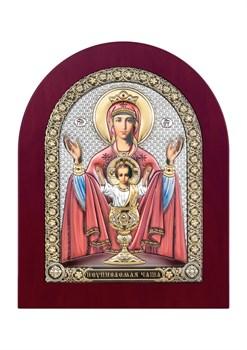 Неупиваемая чаша, серебряная икона деревянный оклад цветная эмаль - фото 7484