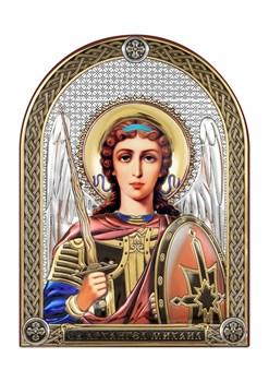 Михаил Архангел, серебряная икона с позолотой и цветной эмалью - фото 7492