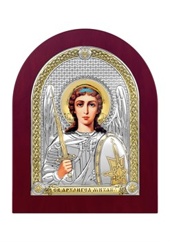 Михаил Архангел, серебряная икона деревянный оклад - фото 7495