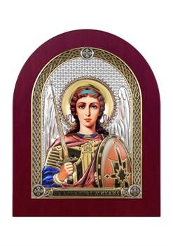 Михаил Архангел, серебряная икона деревянный оклад цветная эмаль - фото 7498