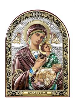 Страстная Божия Матерь, серебряная икона с позолотой и цветной эмалью - фото 7506