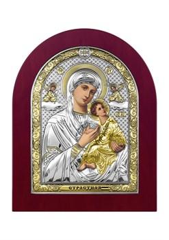 Страстная Божия Матерь, серебряная икона деревянный оклад - фото 7509