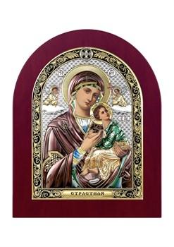 Страстная Божия Матерь, серебряная икона деревянный оклад цветная эмаль - фото 7512
