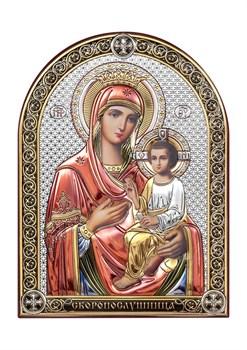 Скоропослушница Божия Матерь, серебряная икона с позолотой и цветной эмалью - фото 7520