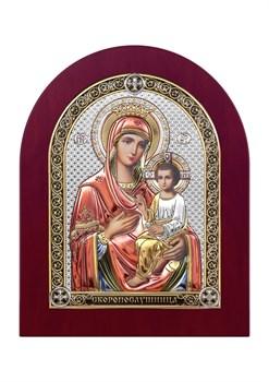 Скоропослушница Божия Матерь, серебряная икона деревянный оклад цветная эмаль - фото 7526