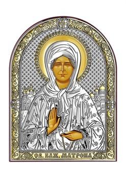 Матрона Московская, серебряная икона с позолотой - фото 7531