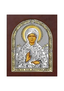 Матрона Московская, серебряная икона деревянный оклад с магнитом - фото 7542